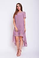Свободное летнее платье из шифона с подкладкой Киви светло-розового цвета