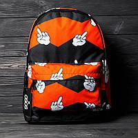 Молодежный рюкзак FUCK, яркий портфель со средним пальцем, оригинальный принт, черно-красный