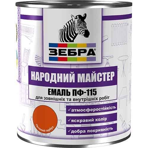 """Эмаль ПФ-115 Зебра """"Народный мастер"""", Пепельно-серая, 0.25 кг"""