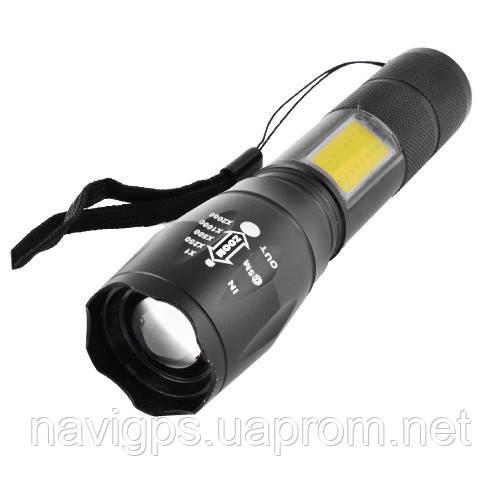 Фонарь Police 1831-T6+COB, ЗУ microUSB, встроенный аккумулятор, zoom, ремешок