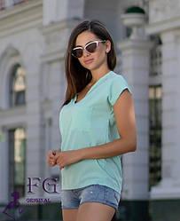 Летняя женская свободная блузка оверсайз короткий рукав и карманы мятная