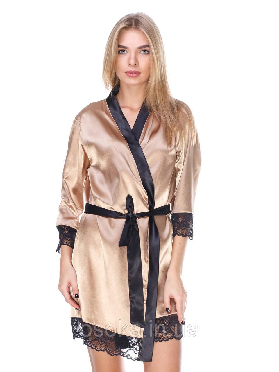 Халат шелковый с кружевом Serenade (Серенада) 2081 Золотой с черным