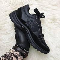 """Кроссовки Chanel CC Logo Suede """"Черные"""""""