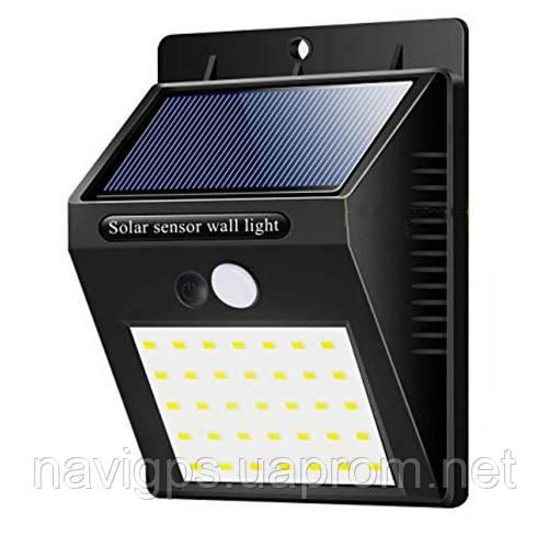 Настенный уличный светильник XF-6014-35SMD, 1x18650, PIR+CDS, солнечная батарея