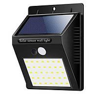 Настенный уличный светильник XF-6014-35SMD, 1x18650, PIR+CDS, солнечная батарея, фото 1