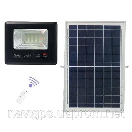 Прожектор 9040 40W SMD, IP67, сонячна батарея, пульт ДУ, вбудований акумулятор, таймер, датчик світла