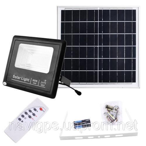 Прожектор 9060 60W SMD, IP67, сонячна батарея, пульт ДУ, вбудований акумулятор, таймер, датчик світла