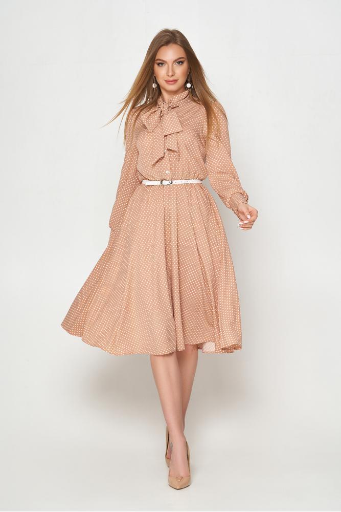 Красивое весеннее платье миди расклешенное в горошек
