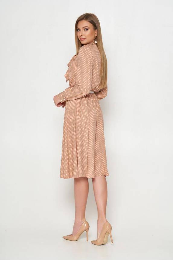 Красивое весеннее платье миди расклешенное в горошек, фото 2