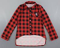 {есть:128} Рубашка клетка для девочек Alisa, 128-164 рр. Артикул: 5262-красный, фото 1