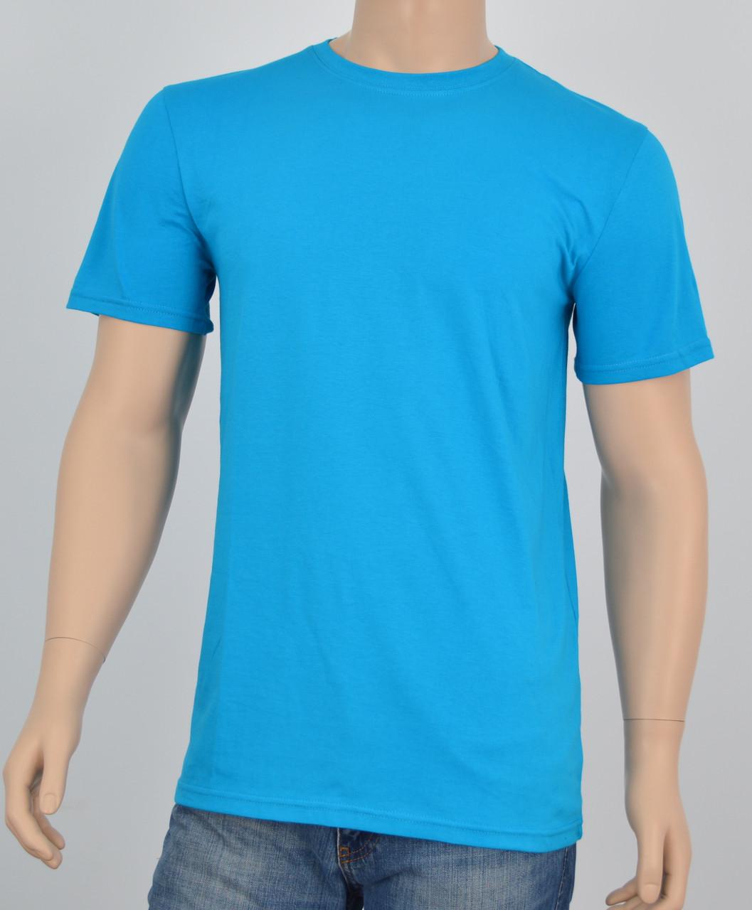 Мужская однотонная футболка 100% х/б бирюза