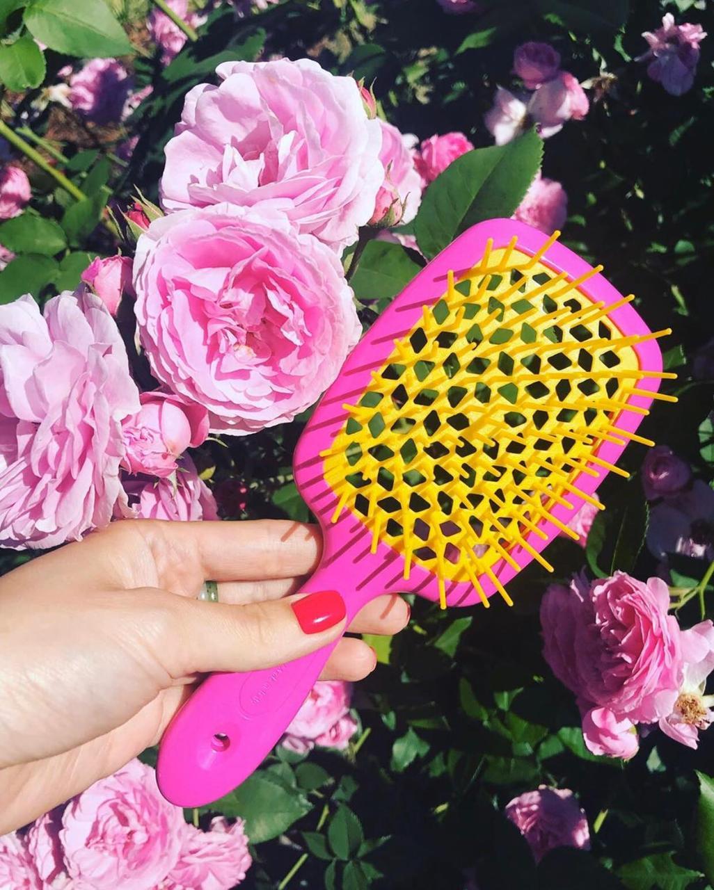 Расческа Janeke Superbrush With Soft Moulded  Tips 86SP226FY-(розовая с желтым)