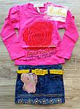 Дитячий костюм MISS реглан і джинсова спідниця з пояском, фото 3