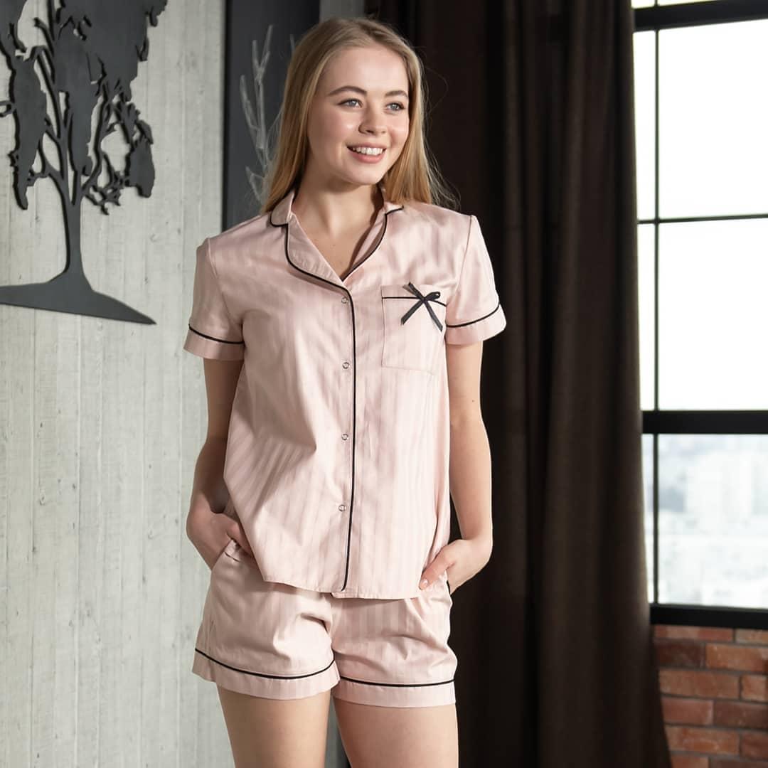 """Женская пижама с кантом """"Персиковая"""" Хлопок, шорты и рубашка короткий рукав"""
