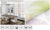 Рулонные шторы тканевые ролеты SALUT розово-салатовый