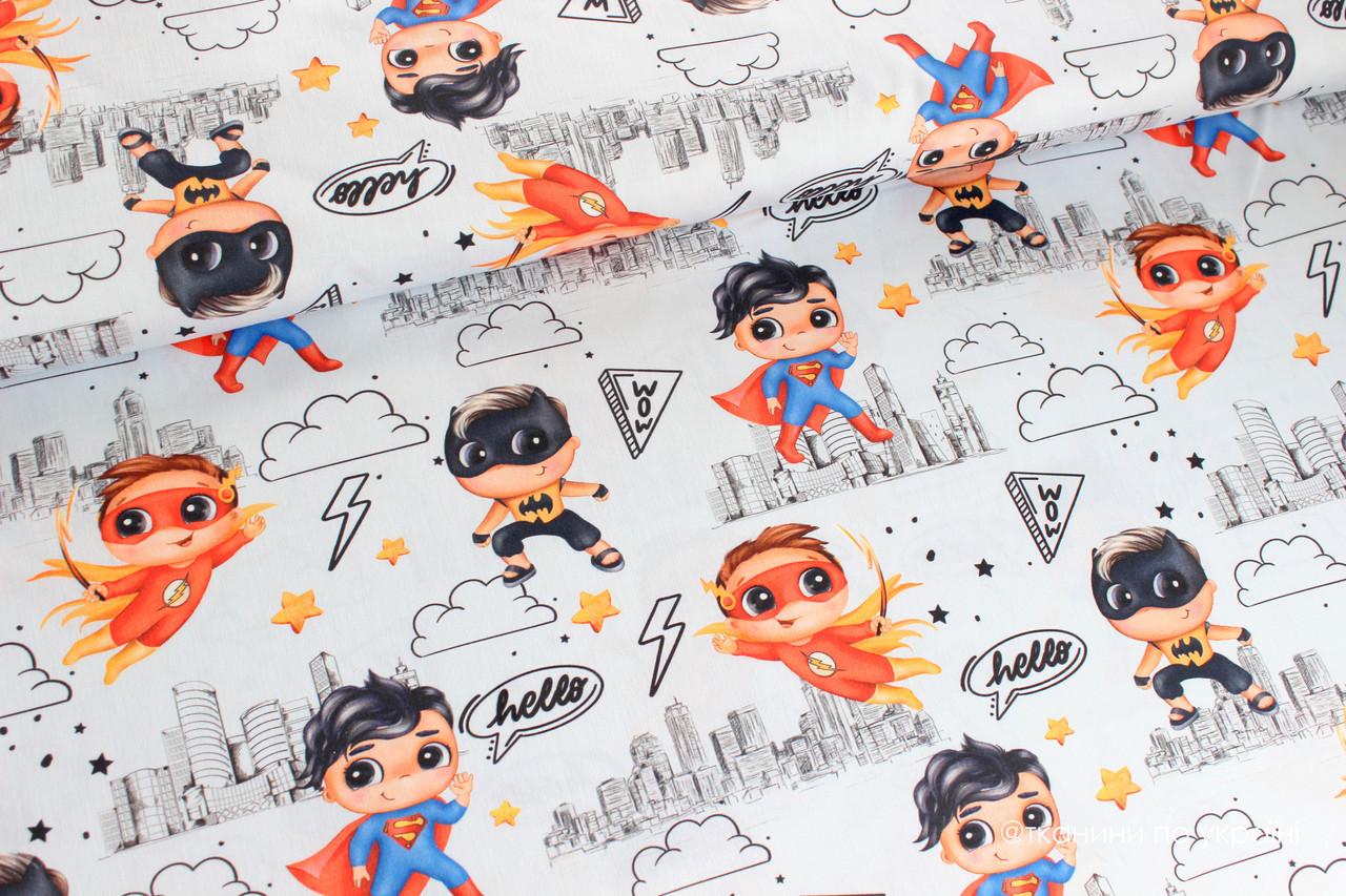 Ткань Премиум сатин Супергерои