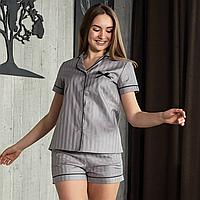 """Женская пижама с кантом """"Серая"""" Хлопок, шорты и рубашка короткий рукав"""