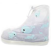 Детские резиновые бахилы на обувь от дождя Lesko Кит Blue размер L на змейке для мальчиков защита обуви, фото 3