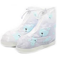 Дитячі гумові бахіли на взуття від дощу Lesko Кіт Blue р. 38/39 на змійці для хлопчиків захист взуття