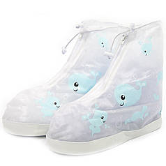 Дитячі гумові бахіли на взуття від дощу Lesko Кіт Blue р. 35 на змійці для хлопчиків захист взуття