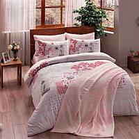 Набор постельного белья TAC ранфорс + плед вязанный Triko - Armina pembe v2 розовый евро