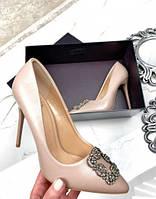 Женские кожаные туфли на шпильке в стиле Маноло, бежевые, код FN-26463