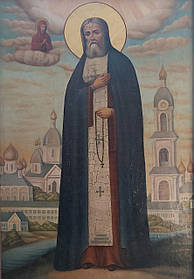 Икона Серафим Саровский 19 век Россия 105 см