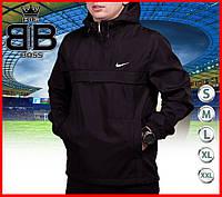 Мужская куртка анорак с капюшоном черная демисезонная, ветровка спортивная
