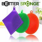 Кухонные силиконовые тряпки-щетки Better Sponge для мытья посуды без химии набор из 3-х штук, фото 2
