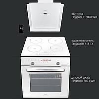 Комплект белый: Духовой шкаф Elegant B6031WH + Вытяжка HE6028WH + Варочная панель индукционная IH611TA