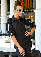 Женская однотонная рубашка с тесьмой по рукавам (Леруаjd)