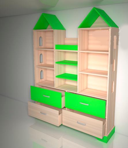 Шкаф замок Design Service «Макси» в детскую Размеры: (в*ш*г) 1700*1400*350 мм. беж/салатовый
