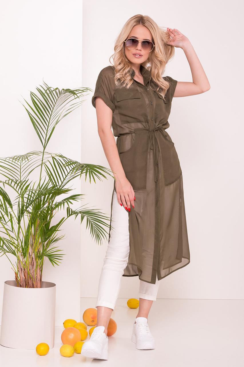 Платье-рубашка Эриал хаки