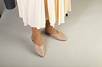 Бежевые кожаные женские мюли