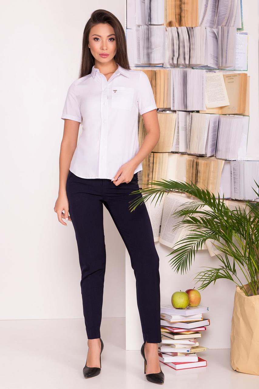 Белая блузка с накладным карманом Дженна белая