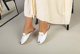 Белые кожаные мюли с фурнитурой, фото 4