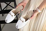 Белые кожаные мюли с фурнитурой, фото 6