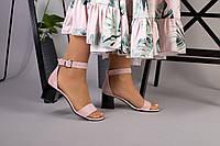 Босоножки на каблуке, пудра замш, фото 1