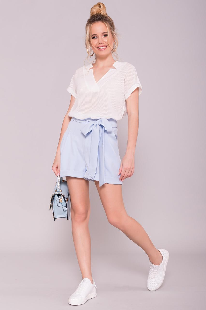 Однотонные шорты Камю светло-голубые
