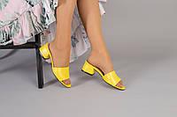 Желтые кожаные мюли, фото 1