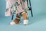 Жіночі білі шкіряні босоніжки, фото 2