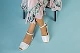 Жіночі білі шкіряні босоніжки, фото 7