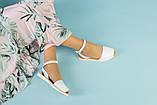 Жіночі білі шкіряні босоніжки, фото 9