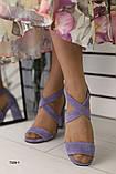 Женские босоножки на каблуке, Лиловые Замшевые, фото 3