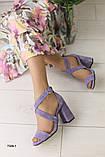 Женские босоножки на каблуке, Лиловые Замшевые, фото 6