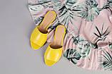 Жіночі жовті шкіряні шльопанці, фото 9