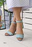 Женские замшевые бирюзовые босоножки, фото 3