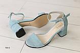 Женские замшевые бирюзовые босоножки, фото 4