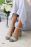 Женские замшевые бирюзовые босоножки, фото 6