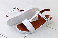 Женские кожаные белые босоножки на низком ходу, фото 1